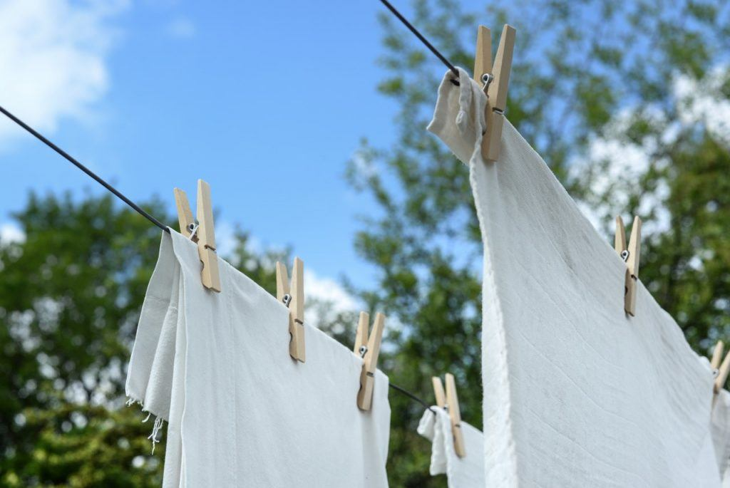 laundry hanging on a clothesline