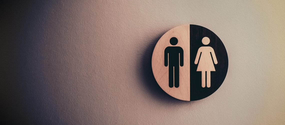 Restroom sign for bathroom with toilet leaks